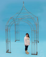 Hand forge scrolled arbour / pergola / pavilion with hand forged 'cage' finial