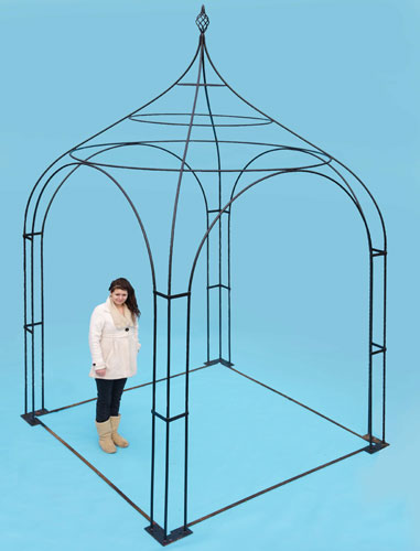 8ft square arbour - with hand forged 'cage' finial