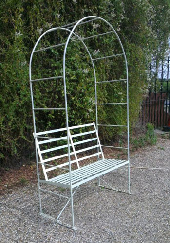 combined arch and bench seat - two seater, painted in 'buttermilk' in photo, but available in other colours.