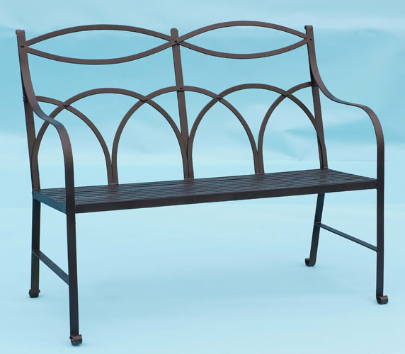 Beautiful and very popular 2 seater bench with hand forged scrolls on feet