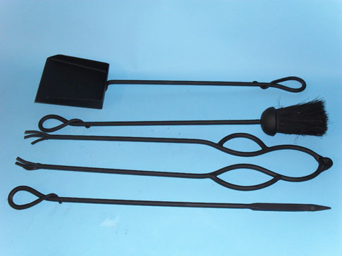 Companion set with hand forged, knotted handles