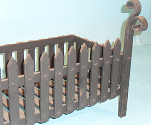 very heavy duty fire grate with hand forged 'swan neck'ends