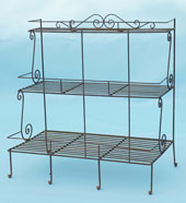 Three tier plant stand with hand forged scrolls