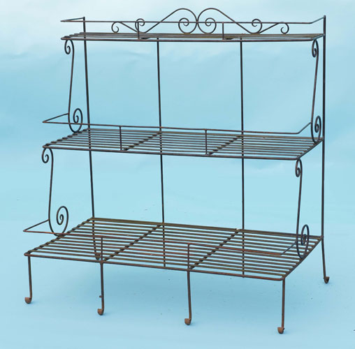Substancial three tier plant stand with hand forged scrolls
