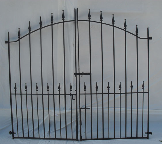 Pair of tall driveway gates with peardrop finials heavy duty