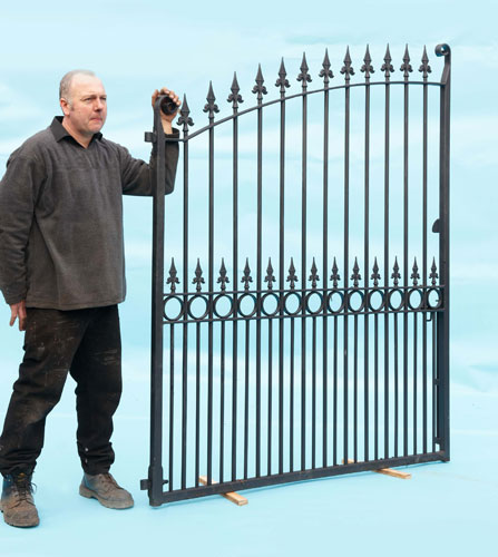 Tall Double Driveway Gates - Hand Forged Scrolls and Fluer De Leys Finials