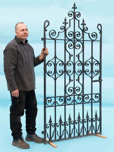 Very decorative, hand clipped, hand forged and very heavy gate