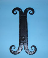Heavy duty door knocker with hand forge scrolled back plate
