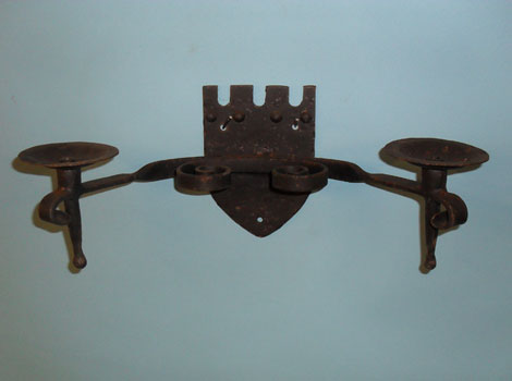 Double wall light on 'shield' back plate - hand forged scrolls