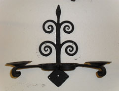 Double wall light / candle holder with hand forged scrolls & mottled forge finish