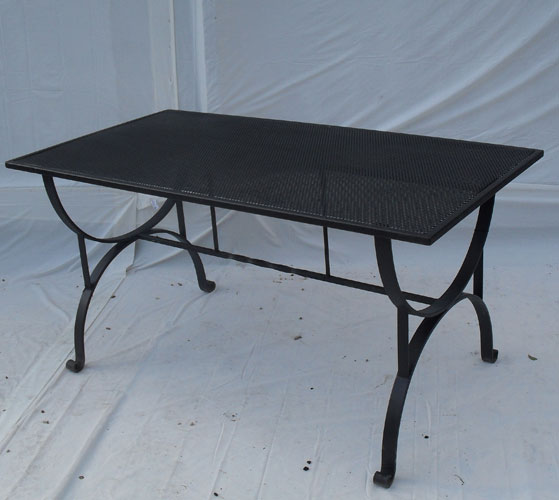 Large heavy duty table hand forged feet and perforated top