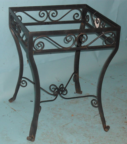 Small square side table with hand forged scrolls and splayed feet