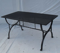 Large heavy duty table, hand forged feet and perforated top