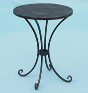 Small  round table with slatted top and hand forged scrolled feet